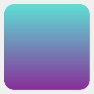 Púrpura Ombre de la turquesa Pegatina Cuadrada