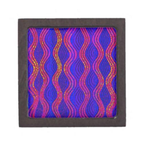 púrpura, ondas del azul cajas de joyas de calidad
