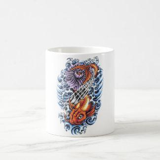 Púrpura oriental fresca Lotus de la carpa de Koi d Tazas De Café