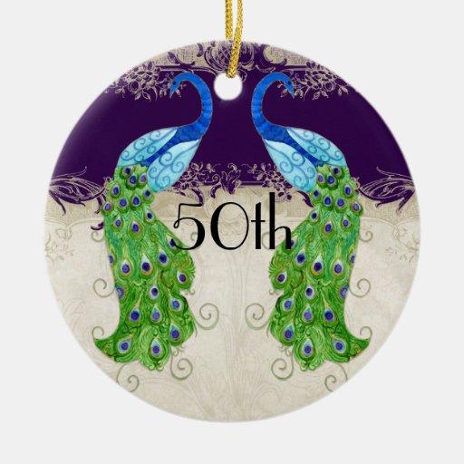 Púrpura oscura del cordón del vintage del pavo adorno navideño redondo de cerámica