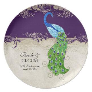 Púrpura oscura del cordón del vintage del pavo rea plato