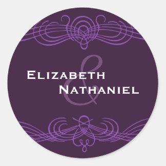 Púrpura oscura del pegatina elegante del vintage