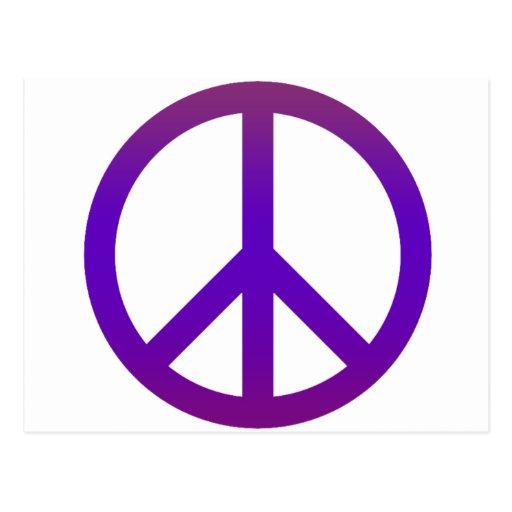 Púrpura oscura del símbolo de paz postal