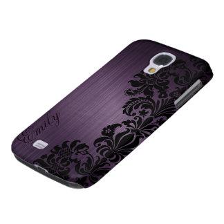 Púrpura oscura metálica con el cordón negro floral funda para galaxy s4