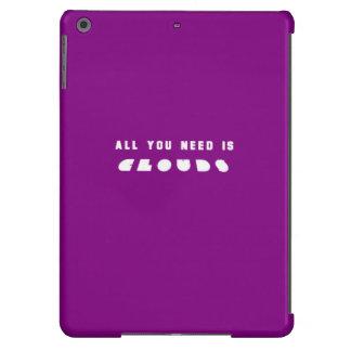 Púrpura oscura toda usted necesita las nubes funda para iPad air
