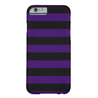 Púrpura oscura y rayas negras horizontales funda barely there iPhone 6