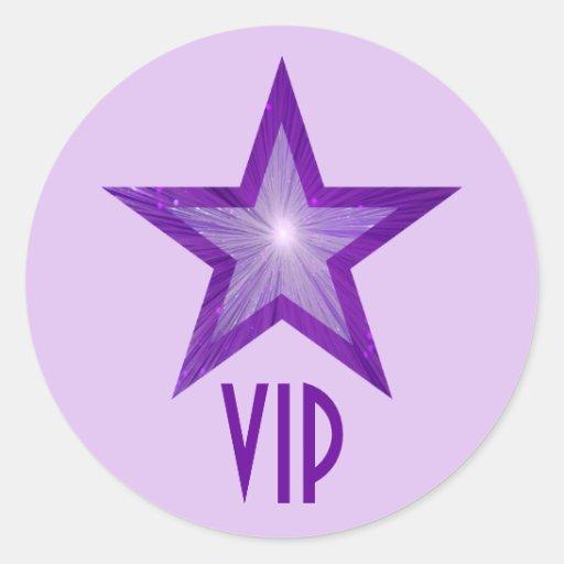 Púrpura pálida de la estrella del pegatina redondo
