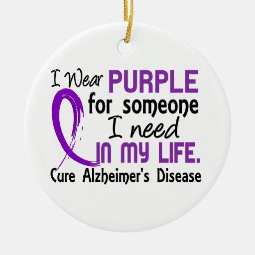 Púrpura para alguien necesito la enfermedad de adorno navideño redondo de cerámica