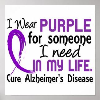 Púrpura para alguien necesito la enfermedad de Alz Posters