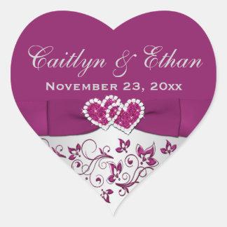 Púrpura pegatina floral del favor del boda de los