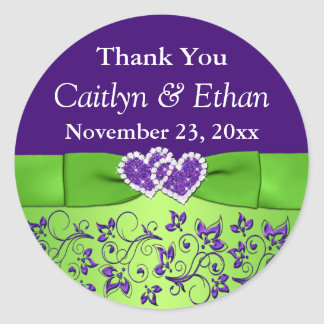 Púrpura, pegatina floral del favor del boda del