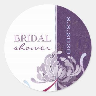 Púrpura + Pegatina nupcial floral de la ducha del