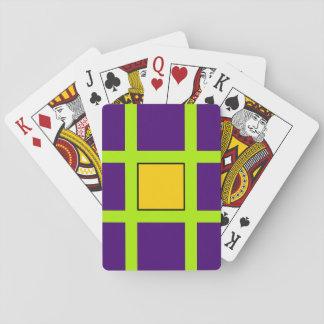 Púrpura, pelos cruzados del verde barajas de cartas