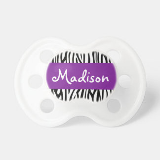 Púrpura personalizada de la cebra chupetes para bebes
