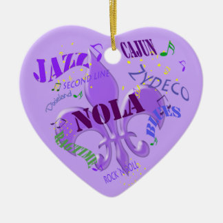 Púrpura personalizada de la música de New Orleans Adorno Navideño De Cerámica En Forma De Corazón