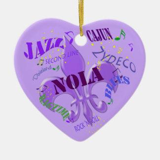 Púrpura personalizada de la música de New Orleans Adorno De Cerámica En Forma De Corazón