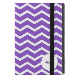 Púrpura personalizada de la raya de Chevron iPad Mini Protector