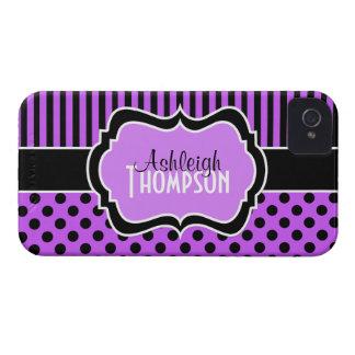 Púrpura personalizada, lunares rayados negros iPhone 4 protectores