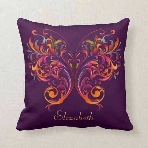 Púrpura personalizada mariposa abstracta hermosa cojín