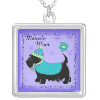 Púrpura personalizada nombre negro del perro de colgante cuadrado