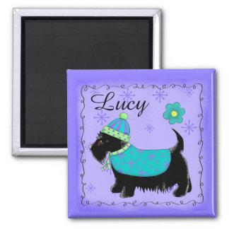 Púrpura personalizada nombre negro del perro de imán cuadrado