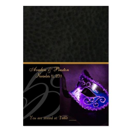 Púrpura Placecard de la máscara de la mascarada de Tarjetas De Visita Grandes