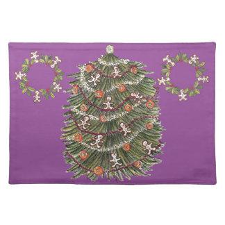 Púrpura Placemat del árbol de navidad del algodón Manteles Individuales