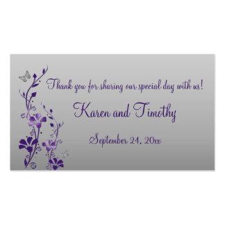 Púrpura, plata floral con la etiqueta del favor de tarjetas de visita