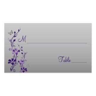 Púrpura, plata floral con las tarjetas del lugar d plantilla de tarjeta personal