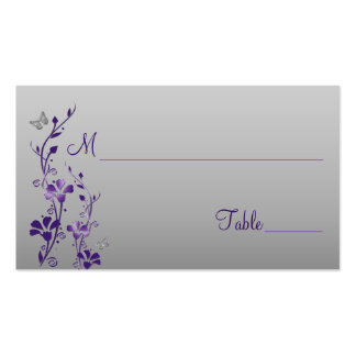 Púrpura, plata floral con las tarjetas del lugar tarjetas de visita