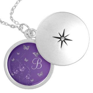 Púrpura, plata floral, Locket del monograma de las Collar