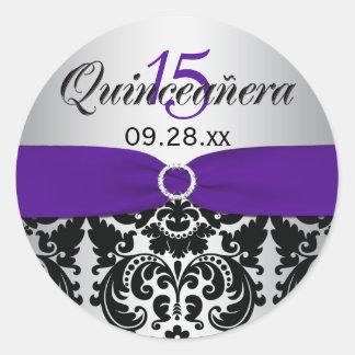 Púrpura, plata, pegatina negro de Quinceanera del
