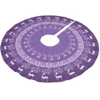 Púrpura Prancing de los ciervos y del cordón del Falda Para Arbol De Navidad De Poliéster