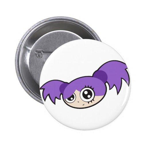 Púrpura punky del chica pin redondo 5 cm