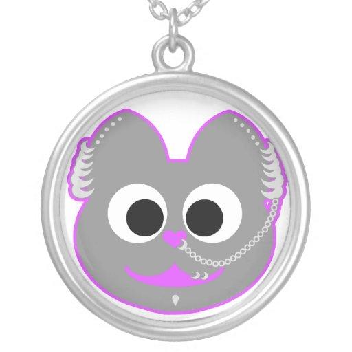 Púrpura punky del Kat del muchacho - gris Pendiente