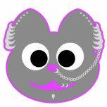 Púrpura punky del Kat del muchacho - gris Escultura Fotográfica