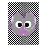 Púrpura punky del Kat del muchacho - gris Invitación 12,7 X 17,8 Cm