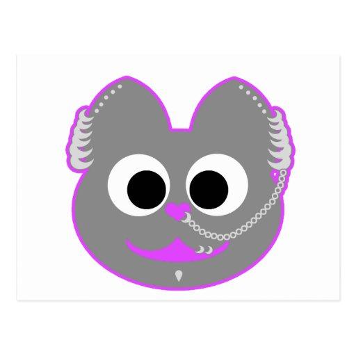 Púrpura punky del Kat del muchacho - gris Postal