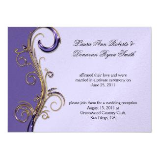 """Púrpura púrpura de la lavanda y remolino adornado invitación 5.5"""" x 7.5"""""""