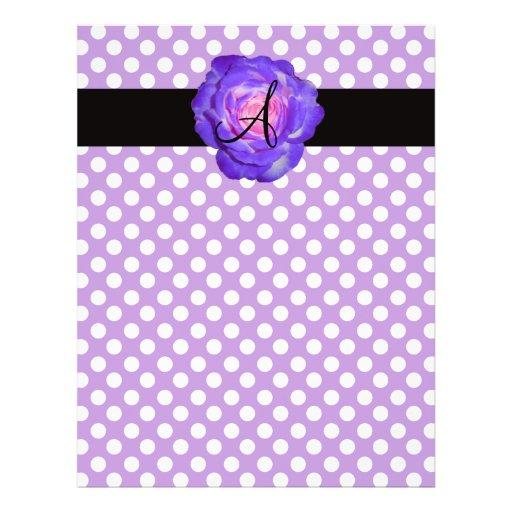 Púrpura púrpura del monograma de los lunares subió tarjeton