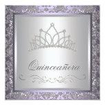 Púrpura Quinceanera de la tiara del diamante Invitación 13,3 Cm X 13,3cm