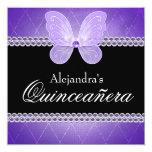 Púrpura Quinceanera de los diamantes de la Invitación 13,3 Cm X 13,3cm