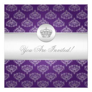Púrpura real de la corona de la ducha nupcial eleg comunicados personales