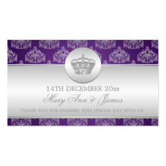 Púrpura real de la corona del boda de la etiqueta tarjetas personales