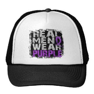 Púrpura real del desgaste de hombres de la gorros bordados