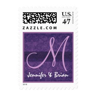Púrpura real del monograma del boda y boda de la estampilla