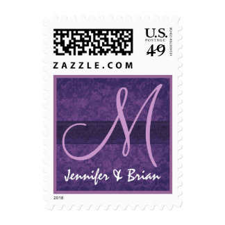 Púrpura real del monograma del boda y boda de la l