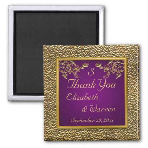 Púrpura real e imán floral del favor del boda del