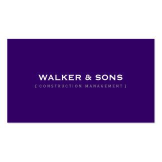 Púrpura real oscura elegante simple llana MASCULIN Tarjetas Personales