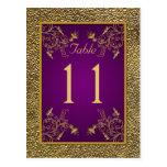 Púrpura real, postal floral del número de la tabla